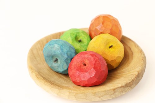 Cute Round Apple Wood Magnet--Woodcut--Handmade - Hand Knot