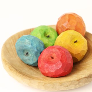 Cute round apple wooden magnet--woodcut--handmade - hand made [can pick color]