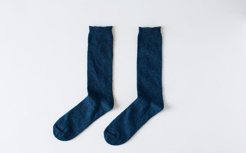 Linen knit socks (dark blue) Women