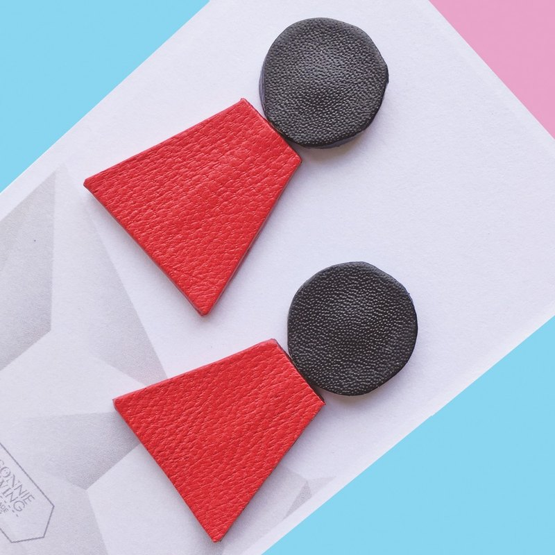 Geomertic Stud Leather Earrings Rotatable