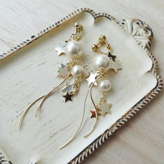 Symphony of Gold Star and Pearl Earrings