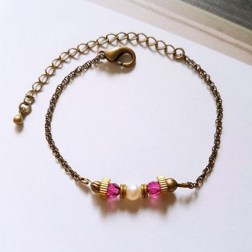 CuFun ◆ retro small natural freshwater pearl / brass / bronze chain bracelet gift custom designs