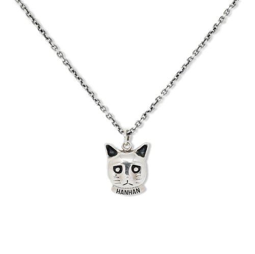 Handmade silver 925 sterling silver melancholy cat necklace
