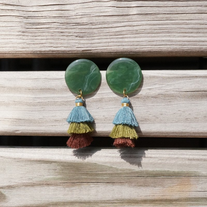 ITS-248 [Earrings Series / Fringed Tassel Series] Christmas Tree Jenga Earrings Green Ear Pin Ear Clips