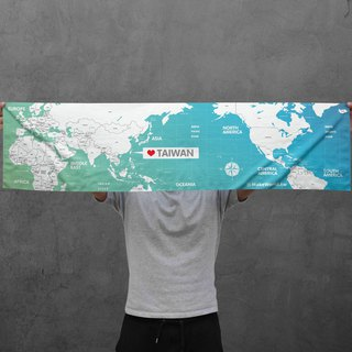 Make World map making sports towel (gradation green)
