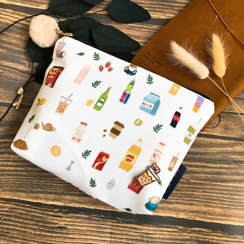 Taiwanese beverage | illustration waterproof cosmetic bag | pencil case | sundries bag | with precious milk small badge