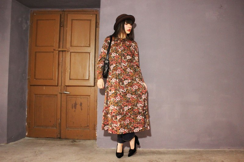 (Vintage dress) (Made in Italy) Reddish-brown long-sleeved vintage dress F3104 (Christmas gift Christmas exchange gifts)