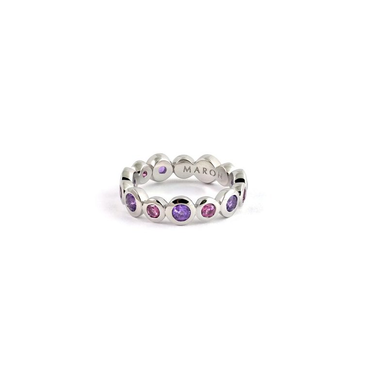 Urban Round Eternity Ring with Amethyst and Rhodolite
