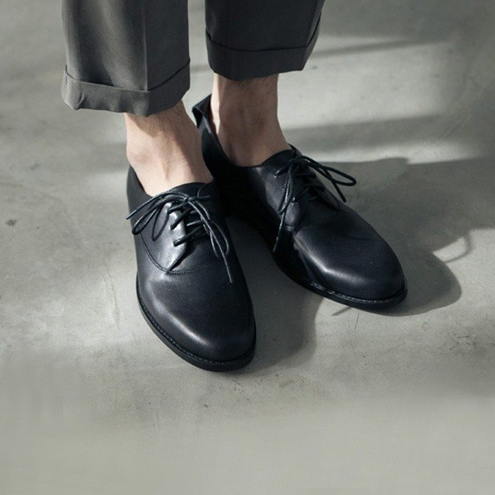 Classic College Strap Leather Oxford Shoes Black Men