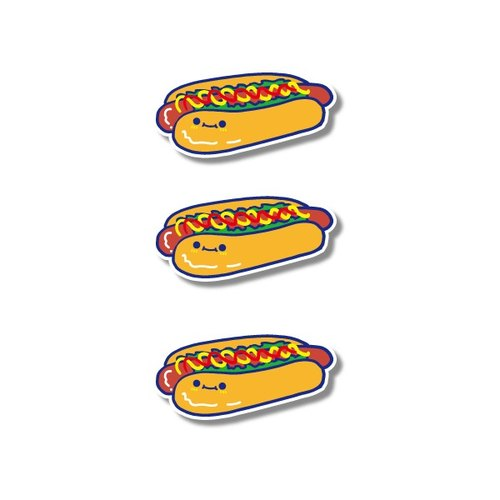1212 fun design funny everywhere stickers waterproof stickers - cute hot dog fort