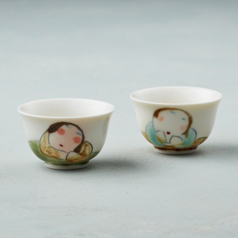 Wu Zhongzong - Fat Lady Series - Small Cup - Tea Wine Poem (Double Piece)