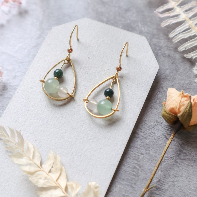 Natural stone geometric brass earrings - collection