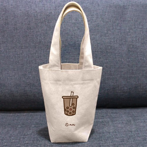 Pearl milk tea---Taiwan-made cotton linen-Wen Chuang Shijiao-pocket-environmental cup bag-fly planet
