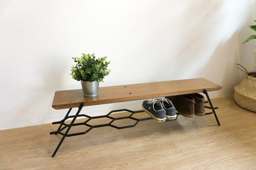 (YD)Small loft bench shoe storage, entryway bench