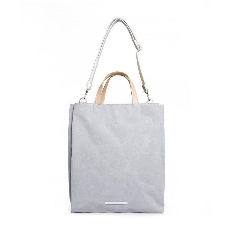 Simple series - detachable strap dual-use tote bag (hand / shoulder) - bright gray - RTO204GY
