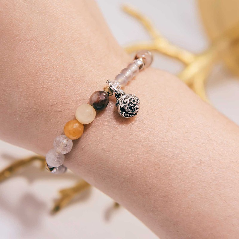 Wealth Bracelet Beads Precious Stones Multi-color Rutilated Quartz Silver Bell