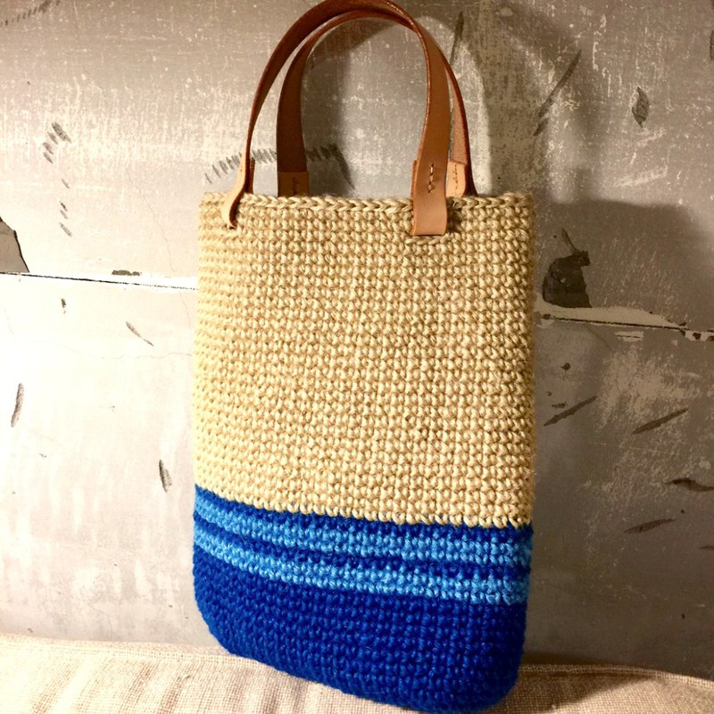 [Japanese wire limited edition bag] blue striped tote bag