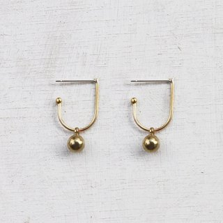 Minimal Brass Dot Hoop Earrings - Sterling Silver Posts