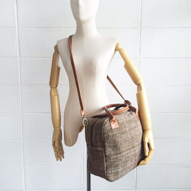 Cross-body Bags Hand Woven and Botanical Dyed Cotton Brown Color