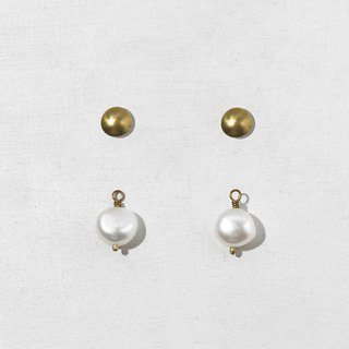 Pearl Brass Stud Earrings - Sterling Silver Stitch