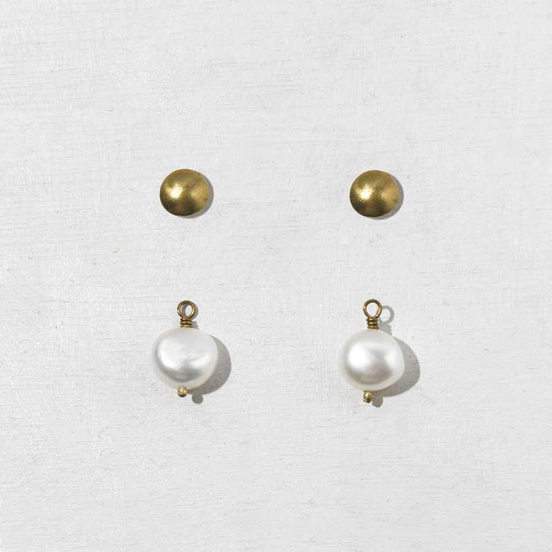 Rivet Earrings With Detachable Pearls
