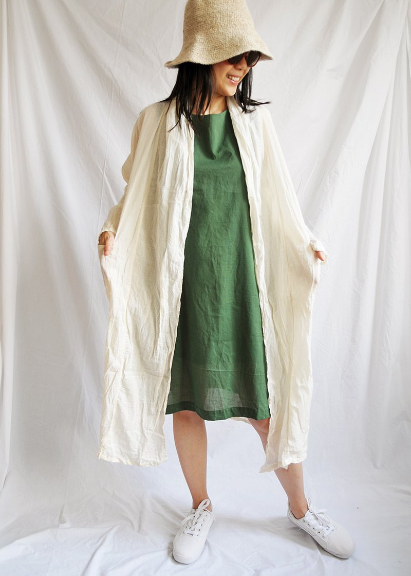Wrinkle Cotton Long Jacket : White