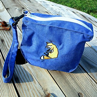 Embroidery curly little fox bag / cosmetic bag / Storage bag - blue jeans