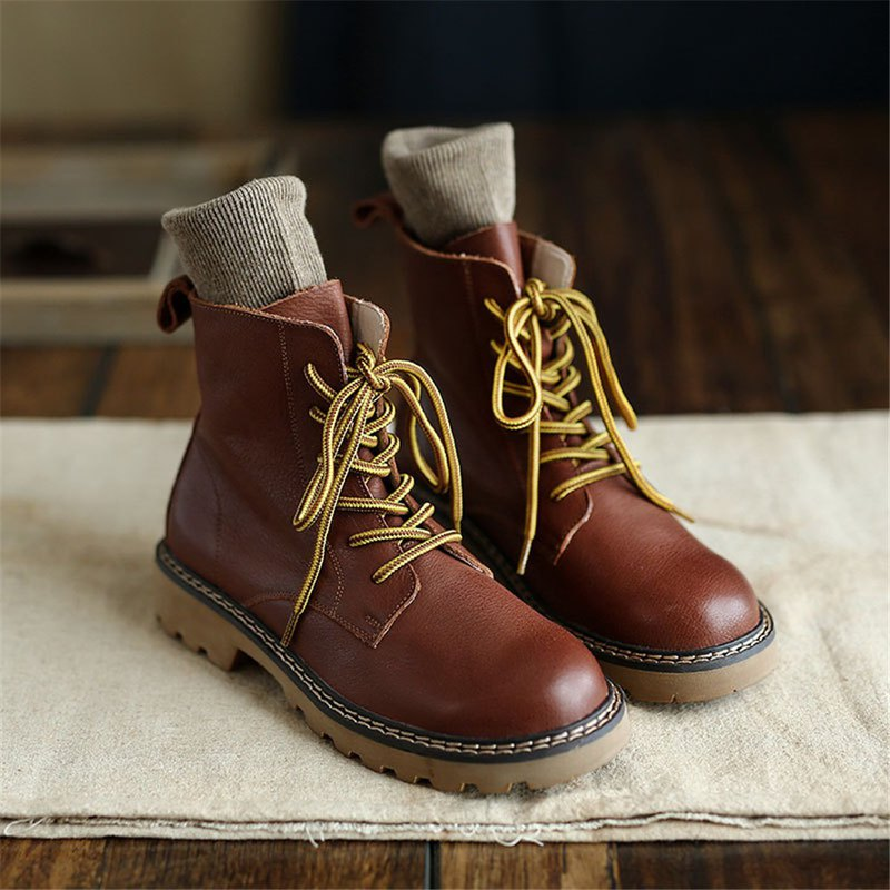 Christmas gift - Sen literary retro handmade leather Martin boots