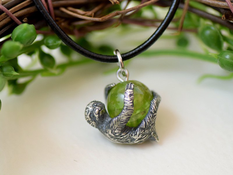 Sloth ~ Life Sloth Ball Pendant Peridot With Leather String Necklace