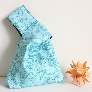 Knot Bag (Double-sided: Aqua-Green floral print x Dark blue)