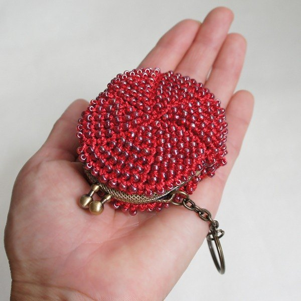Ba-ba handmade ☆ beads crochet mini-coinpurse (No. 736)