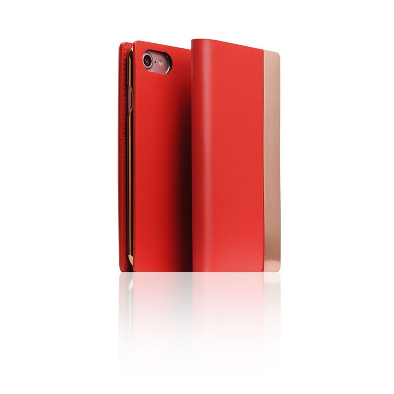 SLG Design iPhone 8 / 7 D5 CSL Metallic Style Side Leather Leather Case - Red