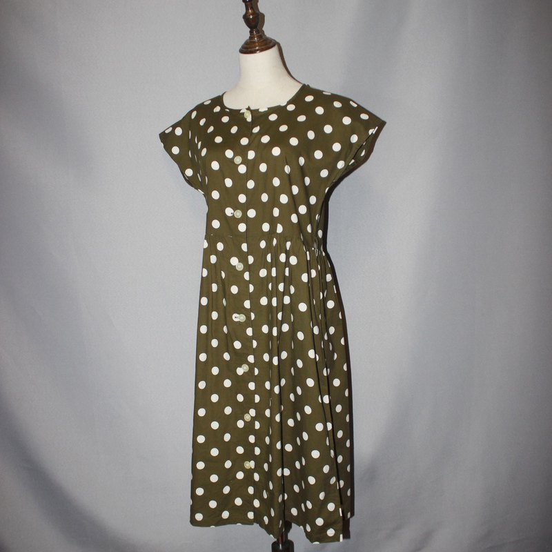 (Vintage Japanese vintage dress) Matcha green dot cloth flower 100% cotton short-sleeved dress F3577