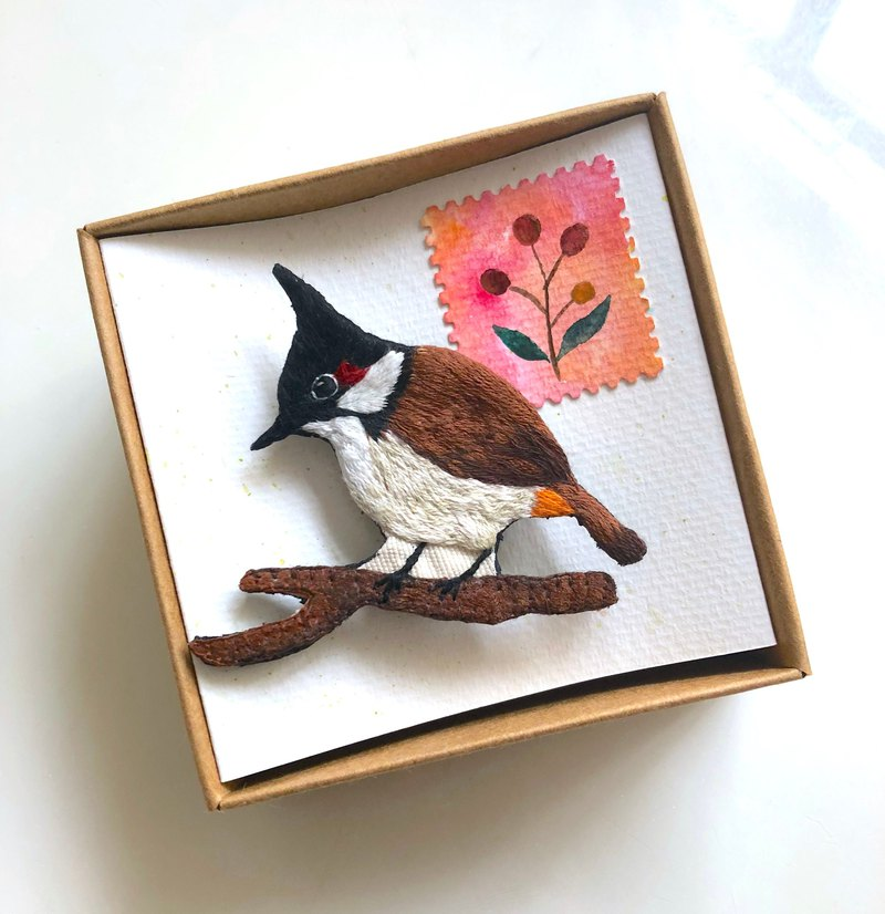 red-whiskered bulbul brooch