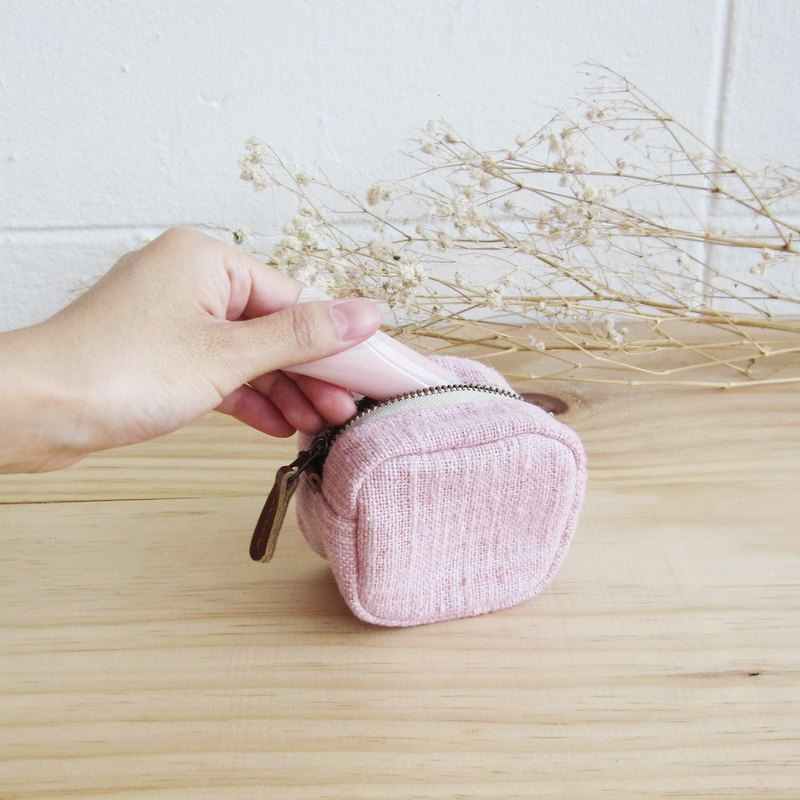 Cosmetic Bags Little Tan S Hand-woven and Botanical dyed Cotton Pink Color