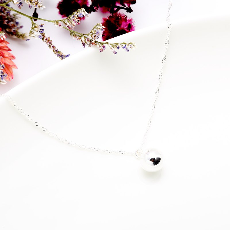 Simple silver ball s925 sterling silver necklace Valentine's Day gift
