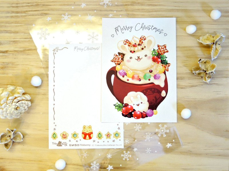 Postcard-X'mas Elk with Hot milk Tea
