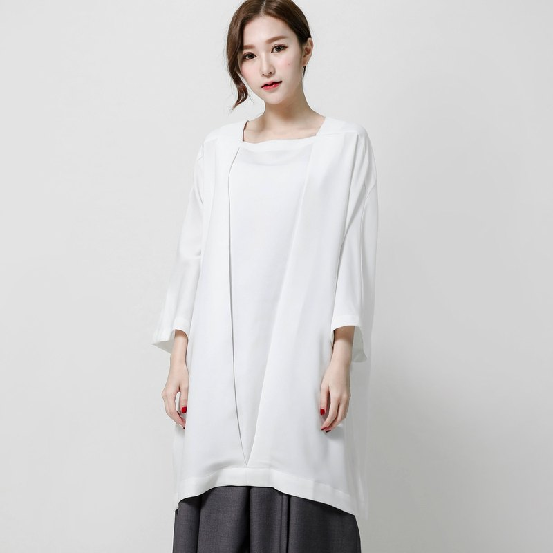 SU: MI said Nietzsche Nietzsche square front fold shirt dress _7AF101_ white
