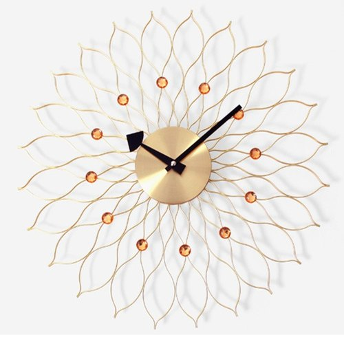 【019011-02】 a.cerco Sunflower Metal Wall Clock - (two colors optional) - gold