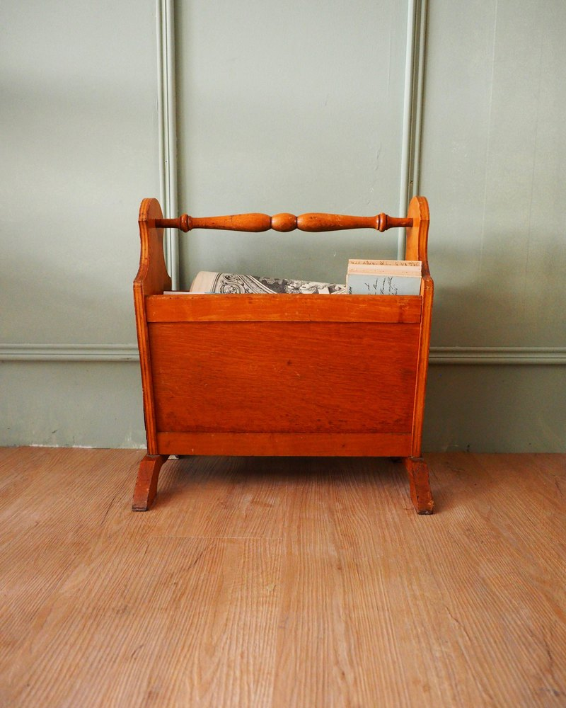 British solid wood antique magazine rack / light color