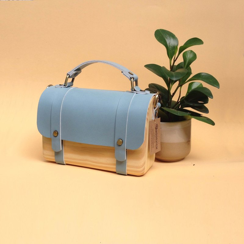 BL wooden bag (mini) - blue