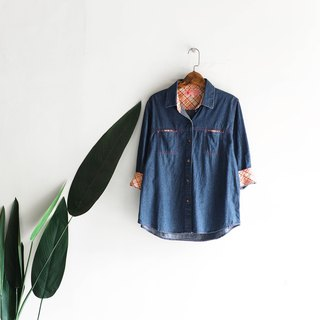 Kanagawa indigo pink micro cool green 涩 log antique cotton denim shirt jacket coat shirt