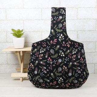 Carrying bag with a wrist bag - small floral (black)