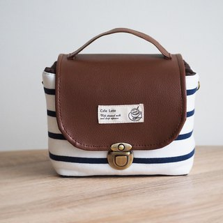 (Large camera bag) Single small single eye camera thick cotton camera bag (blue and white stripes) BZ20