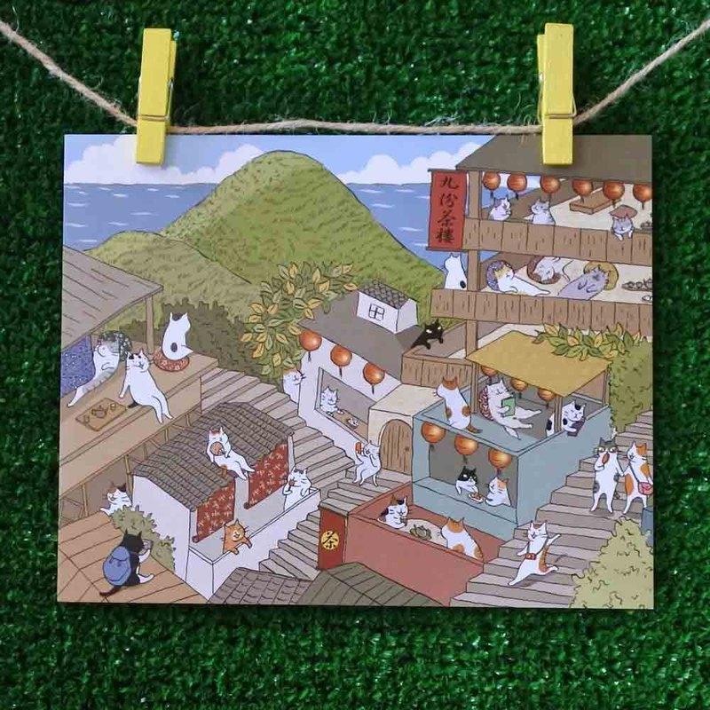 三貓小舖貓咪插畫明信片(畫家:貓小姐) –九份貓城