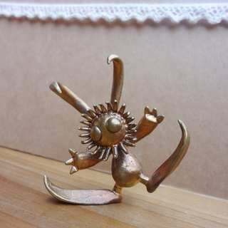 Clown rabbit brass hand puppet / healing decorations