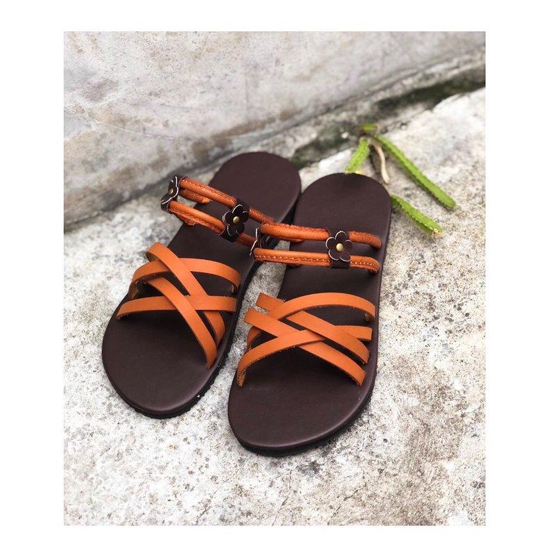 棕色夏季鞋民族涼鞋翻轉涼鞋涼鞋皮革工作復古波西米亞風涼鞋