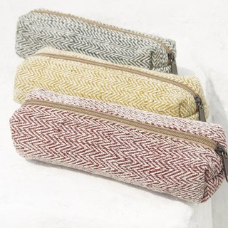 Feel canvas pen bag / storage bag / woven pen bag / ethnic wind storage bag / cotton and linen woven pen bag - triangle