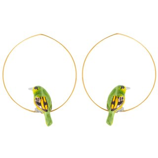 Green Bird Little Bee-eater Hoops Earrings