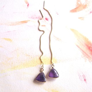 Triangle Shape Dangle Amethyst Thread Earrings - 925 Silver | Plated 18K Gold